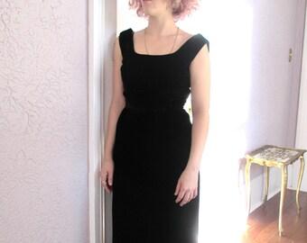 50's Vintage Black Velvet Evening Dress small medium