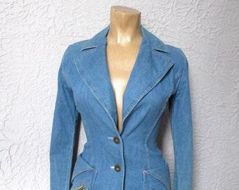 70's Vintage Fitted Denim Blazer Jacket small XS