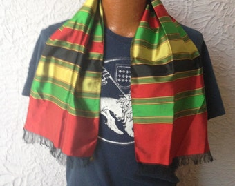 30's Vintage Men's Art Deco Ascot Scarf Colorful Stripes never used