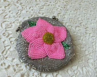 Antique Change Purse - Grandma's Coin Purse - OOAK - Hand Beaded - Estate Sale - Collectible