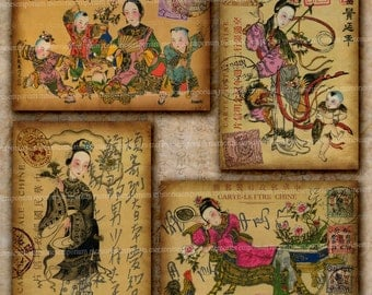 Chinese Postcards Asian Oriental Fantasy Chine Antique Postage Stamps Postmarks Decoupage for Journal Craft Digital Collage Sheet 491