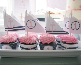Instant Download - Sailor Party Cupcake Toppers & Wraps