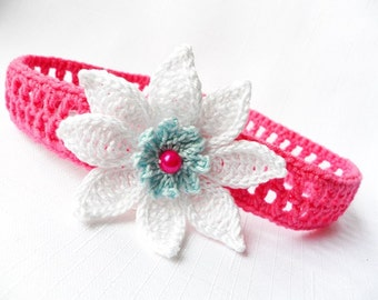Crocheted headband for baby  from cotton yarn in cyclamen with white flower, READY TO SHIP