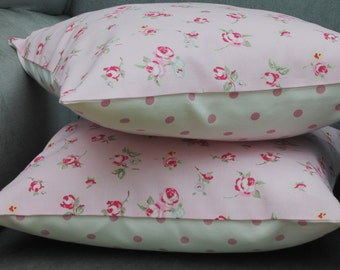 Two Cushion Covers, white and pink, 16 inch Pillow Covers, Cottage chic, Pink floral pillow slip white and pink dots