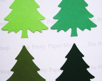 20 Large Mixed Green Evergreen Christmas Tree punch die cut embellishments E995