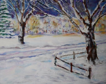 Winter Landscape Painting - Original Acrylic - Snow and Tree - Impressionist Landscape - Winter snow tree painting - city park sunset