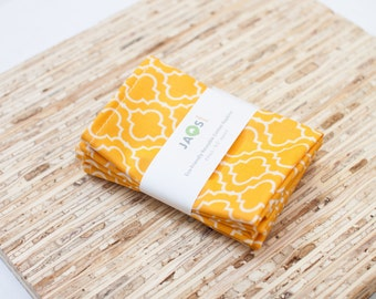 Small Cloth Napkins - Set of 4 - (N1928s) - Marigold Tile Modern Reusable Fabric Napkins