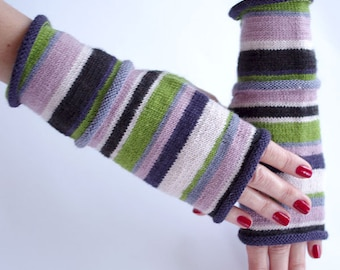 Very cozy hand knitted merino wool and polyamide blend striped  fingerless gloves/wrist warmers  - READY to ship