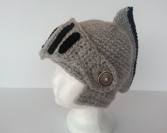 Crochet Sir Knight Helmet-Baby Photo Prop-Adult Ski Hat-Kids Costume Hat-Toddler Helmet-Teen Ski Mask-Boys Knight-Newborn to Adult
