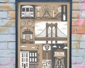 "Brooklyn Inspired Silkscreen Art Print - 18"" x 24"""
