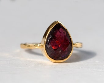 40 0FF - Garnet Ring - January Birthstone Ring - Gemstone Ring - Stacking Ring - Gold Plated - Tear Drop Ring