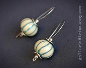 Lampwork earrings - Ivory and blue stripes - Murano glass - Handmade beads