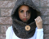 Hooded Cowl with Large Wood Button // Barley// THE JACKSON
