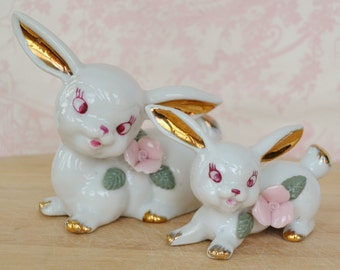 Vintage Rabbit Pair of Figurines by Chase