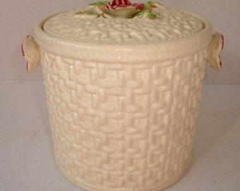 Basket Weave Ceramic Biscuit or Cookie Jar Canister