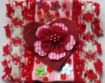 """Textile Valentine Brooch """"Heart's Desire"""""""