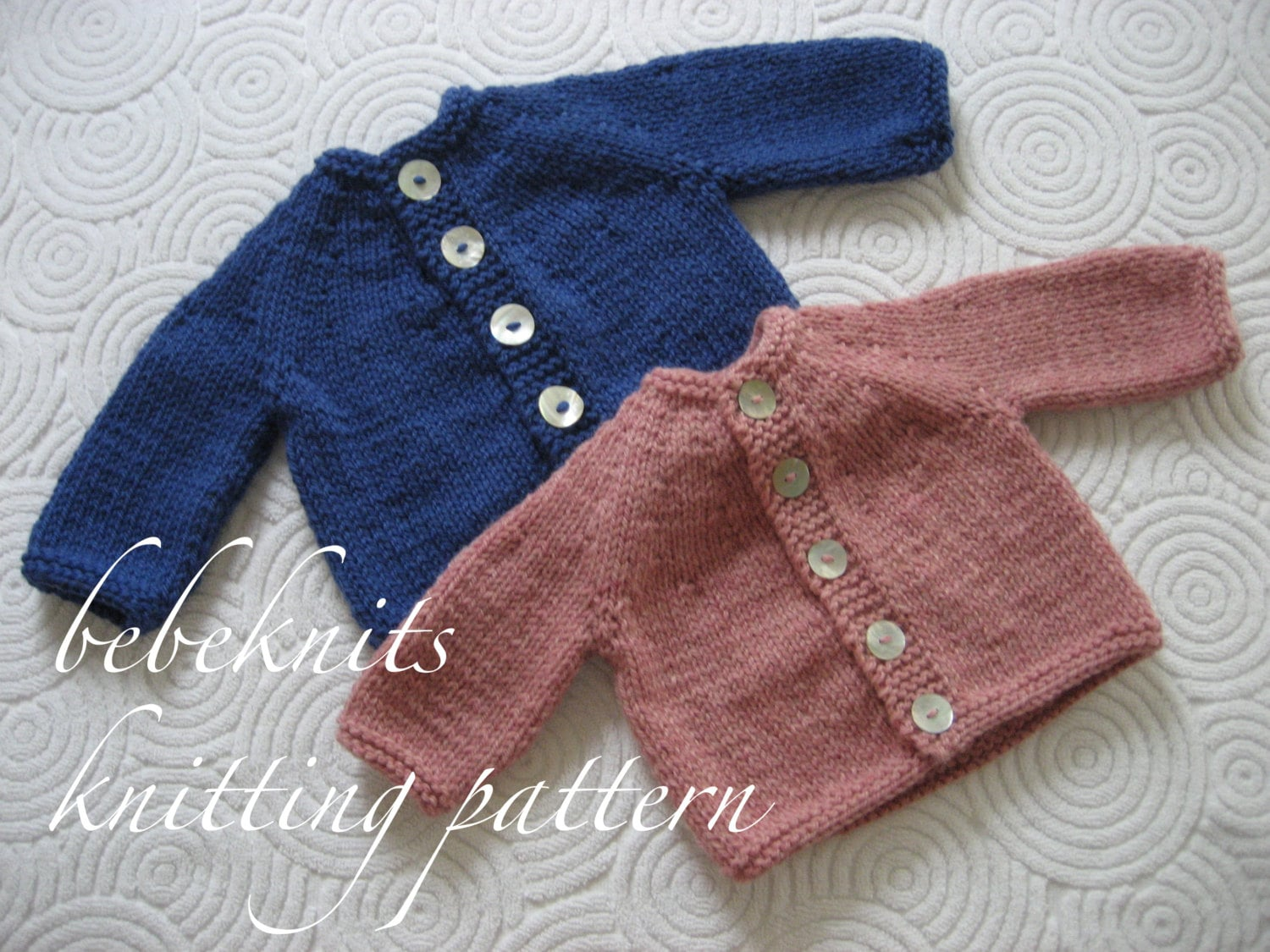 Bebeknits Simple Round Yoke Baby Cardigan Knitting Pattern
