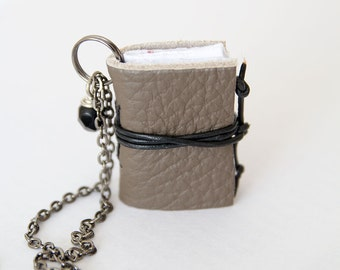 Miniature book necklace mini book jewelry, eco friendly leather book pendant, blank book lover, literature jewelry, leather journal - beige