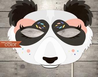 DIY Printable Lady Panda Mask - Mardi Gras, Birthdays, Masquerade Ball, Weddings, or Halloween