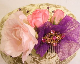 Pastel Floral Hair Comb, Pink and Purple Hair Comb, Wedding Hair Comb