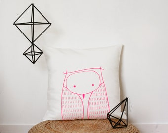 Owl Cushion Cover - Neon pink owl pillow