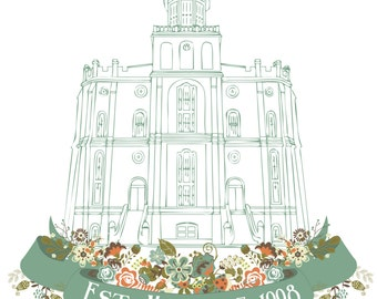 Personalized LDS St. George Utah Temple Print-Last name or Wedding date