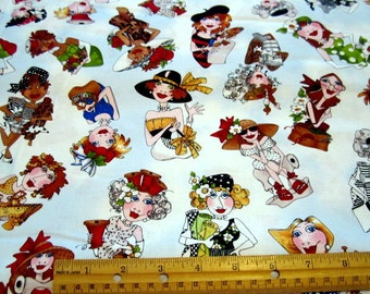 Creative Ladies Tossed on Blue Cotton Quilting Fabric by Loralei Harris for Quilting Treasures