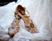 Gatsby Wedding Shoes ..T-Strap .. 1920s inspired wedding shoes .. Antique Lace .. personalized design ..FREE Shipping within the USA