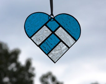 Turquoise and Clear Textured Stained Glass Heart Suncatcher