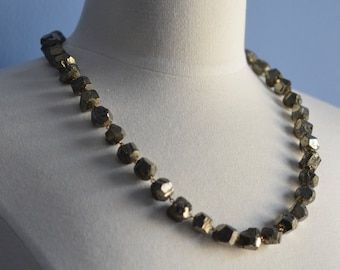 Pyrite Necklace Long Bold Silver  Chain Flapper Inspired Modern Simple Minimalist Nuggets Chain