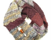 Knitted Scarf and Handmade Lampwork Glass Bead Ice Cream Cone Pin