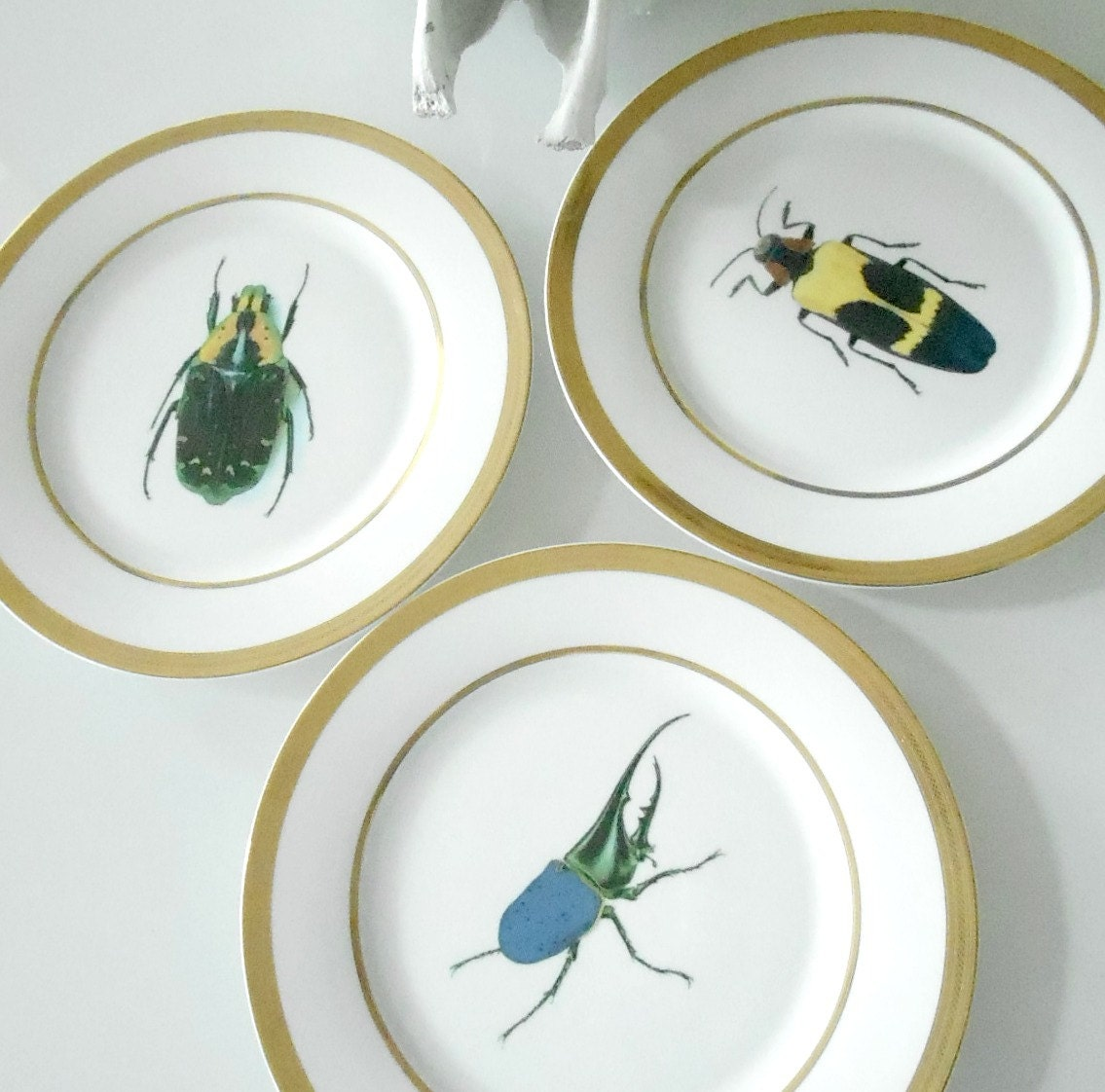 Sale Gold Porcelain Buginsect Dinner Plates & unusual dinnerware gold porcelain bug/insect dessert plates ...