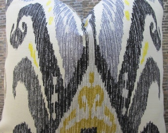 Designer Pillow Cover - 18 x 18, 20 x 20, 22 x 22 - Nate Berkus Kopaki Ikat Black, Gray, Gold