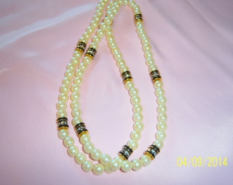 Vintage Lovely Faux Pearls with Triple Rondelles