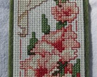 Flower August Cross Stitch Bookmark