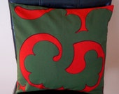 """16"""" x 16"""" Marimekko Green and Red Abstract Swirl Print Contemporary Cushion Cover"""