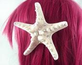 Little Mermaid Crystal Natural Starfish Hairclip - Made to Order