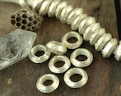 Nickel Silver Stamped, Round Large-Hole Vintage, Antique African Contoured Rondelles / 19x6mm / True Tribal Fashion / Rare / 3 Metal Beads