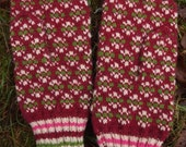 Finely Hand Knitted Estonian in Burgundy - warm and windproof