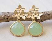 Mint Teardrop and Gold Cherry Blossom Flower Post Earrings. Mint Bridesmaid Earrings. Drop Earrings. Fashion Earrings. Christmas Gift.