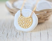 Sweet Simplicity - Gold Crescent Pendant Necklace. Simple Gold Necklace. Moon Pendant Necklace. GIFT FOR HERHoliday Jewelry. Christmas Gift.