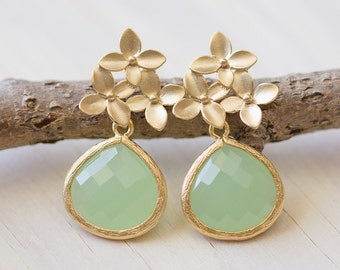 Mint Teardrop and Gold Cherry Blossom Flower Post Earrings. Mint Bridesmaid Earrings. Drop Earrings. Fashion Earrings. Christmas Gift.