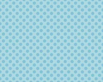 Blue Polka Dot-My Sunshine- Riley Blake- Cotton Fabric - 1/2 YARD (18 X 44 INCHES)