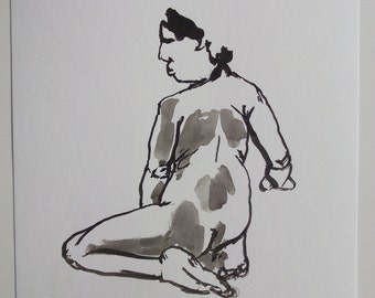 FEMALE NUDE original art  ink drawing on paper # 6