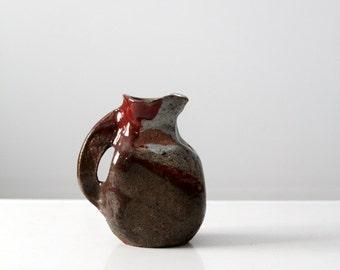 studio pottery pitcher, vintage glazed ceramic vase, signed pottery