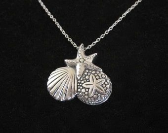 Sea Shell Starfish Sand Dollar sterling silver necklace, seaside necklace, sea, beach necklace