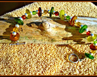 Hand Cut Wine Bottle Bracelet with Beach Glass Beads (FREE SHIPPING)