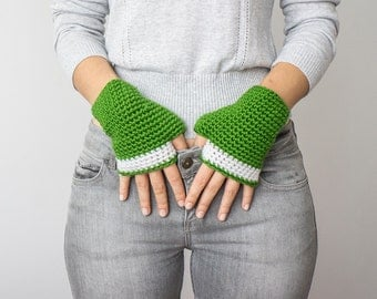 GreenFingerless gloves Crochet, Arm Warmers,Crochet fingerless gloves,Handmade Crocheted Gloves For Her Fashion Accessories
