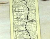 1933 Strip Map Los Angeles San Francisco San Luis Obispo Santa Margarita Atascadero Paso Robles San Miguel Automobile Routes California