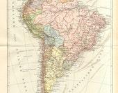 1905 Original Antique Political Map of South America